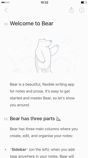Screenshot of Bear