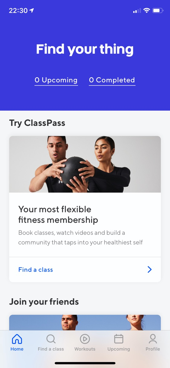 Screenshot of ClassPass